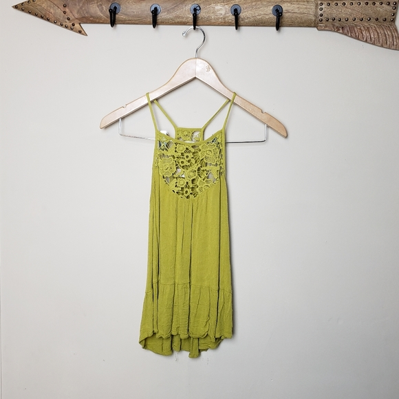 Altar'd State Tops - Lace design yellow flowy tank top